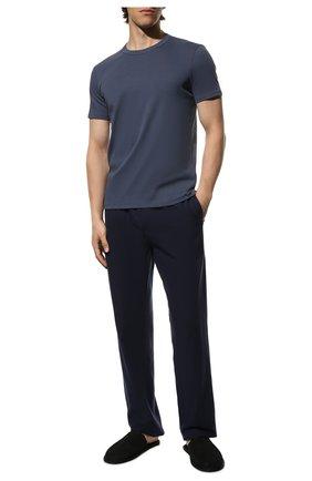 Мужская хлопковая футболка TOM FORD темно-синего цвета, арт. T4M081040 | Фото 2 (Материал внешний: Хлопок; Кросс-КТ: домашняя одежда; Длина (для топов): Стандартные; Рукава: Короткие)