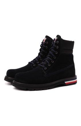 Мужские замшевые ботинки vancouver MONCLER темно-синего цвета, арт. G2-09A-4F700-00-02SYC | Фото 1 (Материал внутренний: Натуральная кожа; Мужское Кросс-КТ: Ботинки-обувь; Материал внешний: Замша; Подошва: Плоская)