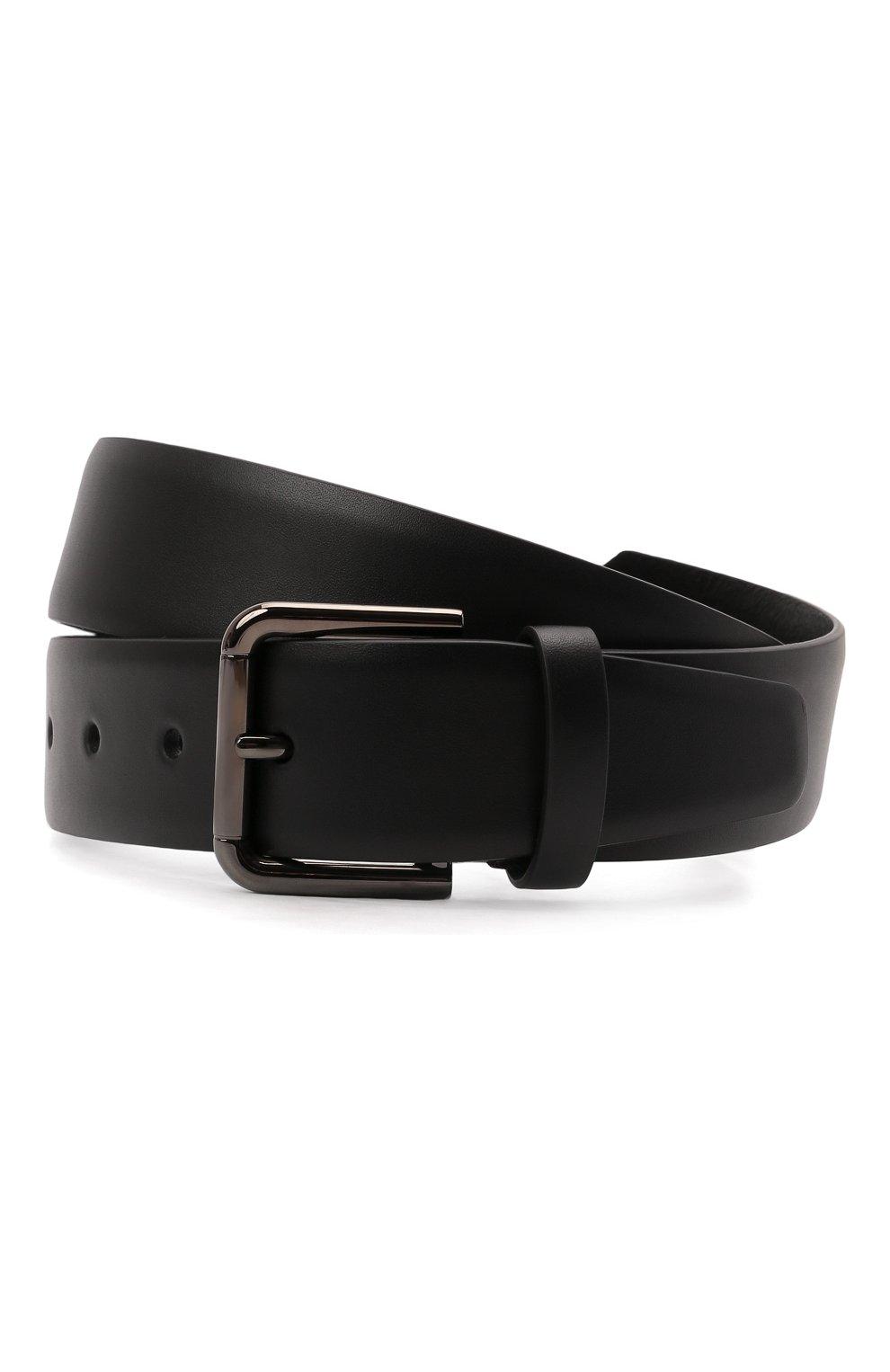 Мужской кожаный ремень DOLCE & GABBANA черного цвета, арт. BC4595/AX622   Фото 1 (Случай: Повседневный)