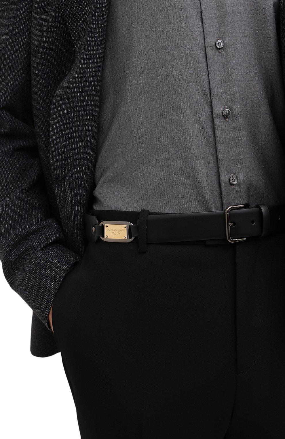 Мужской кожаный ремень DOLCE & GABBANA черного цвета, арт. BC4595/AX622   Фото 2 (Случай: Повседневный)
