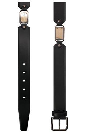 Мужской кожаный ремень DOLCE & GABBANA черного цвета, арт. BC4595/AX622   Фото 3 (Случай: Повседневный)