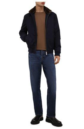 Мужской бомбер из шерсти и кашемира с меховой отделкой CANALI синего цвета, арт. 040658/SG02131   Фото 2 (Рукава: Длинные; Материал внешний: Шерсть; Длина (верхняя одежда): Короткие; Материал подклада: Синтетический материал; Кросс-КТ: Куртка; Мужское Кросс-КТ: шерсть и кашемир, утепленные куртки; Принт: Без принта)