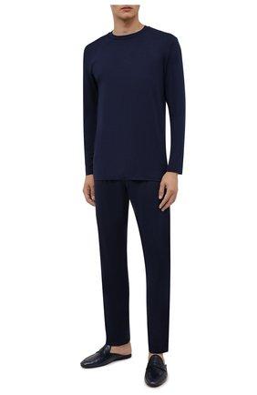 Мужская пижама ZIMMERLI темно-синего цвета, арт. 718-96054 | Фото 1 (Материал внешний: Синтетический материал; Кросс-КТ: домашняя одежда; Длина (для топов): Стандартные; Длина (брюки, джинсы): Стандартные; Рукава: Длинные)