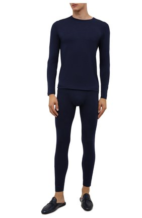 Мужские кальсоны ZIMMERLI темно-синего цвета, арт. 718-8255 | Фото 2 (Материал внешний: Синтетический материал; Кросс-КТ: бельё; Длина (брюки, джинсы): Стандартные)