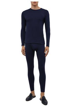Мужская лонгслив ZIMMERLI темно-синего цвета, арт. 718-8252 | Фото 2 (Материал внешний: Синтетический материал; Кросс-КТ: домашняя одежда; Длина (для топов): Стандартные; Рукава: Длинные)