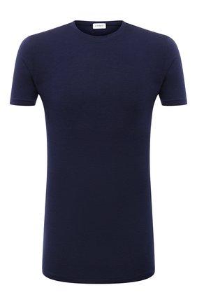 Мужская футболка ZIMMERLI темно-синего цвета, арт. 718-8251 | Фото 1 (Материал внешний: Синтетический материал; Кросс-КТ: домашняя одежда; Длина (для топов): Стандартные; Рукава: Короткие)