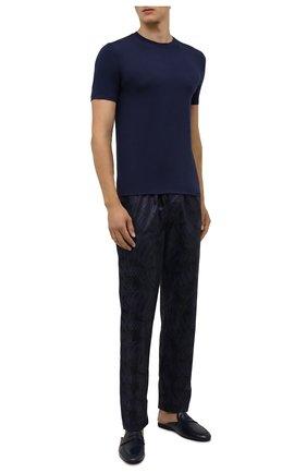 Мужская футболка ZIMMERLI темно-синего цвета, арт. 718-8251 | Фото 2 (Материал внешний: Синтетический материал; Кросс-КТ: домашняя одежда; Длина (для топов): Стандартные; Рукава: Короткие)