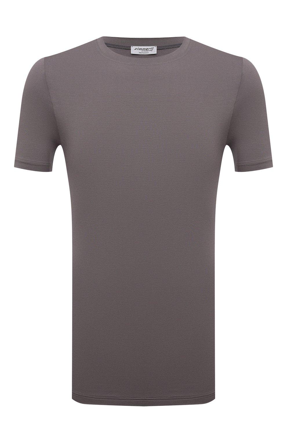 Мужская футболка ZIMMERLI светло-серого цвета, арт. 700-1341   Фото 1 (Кросс-КТ: домашняя одежда; Рукава: Короткие; Материал внешний: Синтетический материал; Длина (для топов): Стандартные)