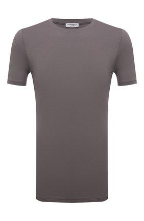 Мужская футболка ZIMMERLI светло-серого цвета, арт. 700-1341 | Фото 1 (Материал внешний: Синтетический материал; Кросс-КТ: домашняя одежда; Рукава: Короткие; Длина (для топов): Стандартные)