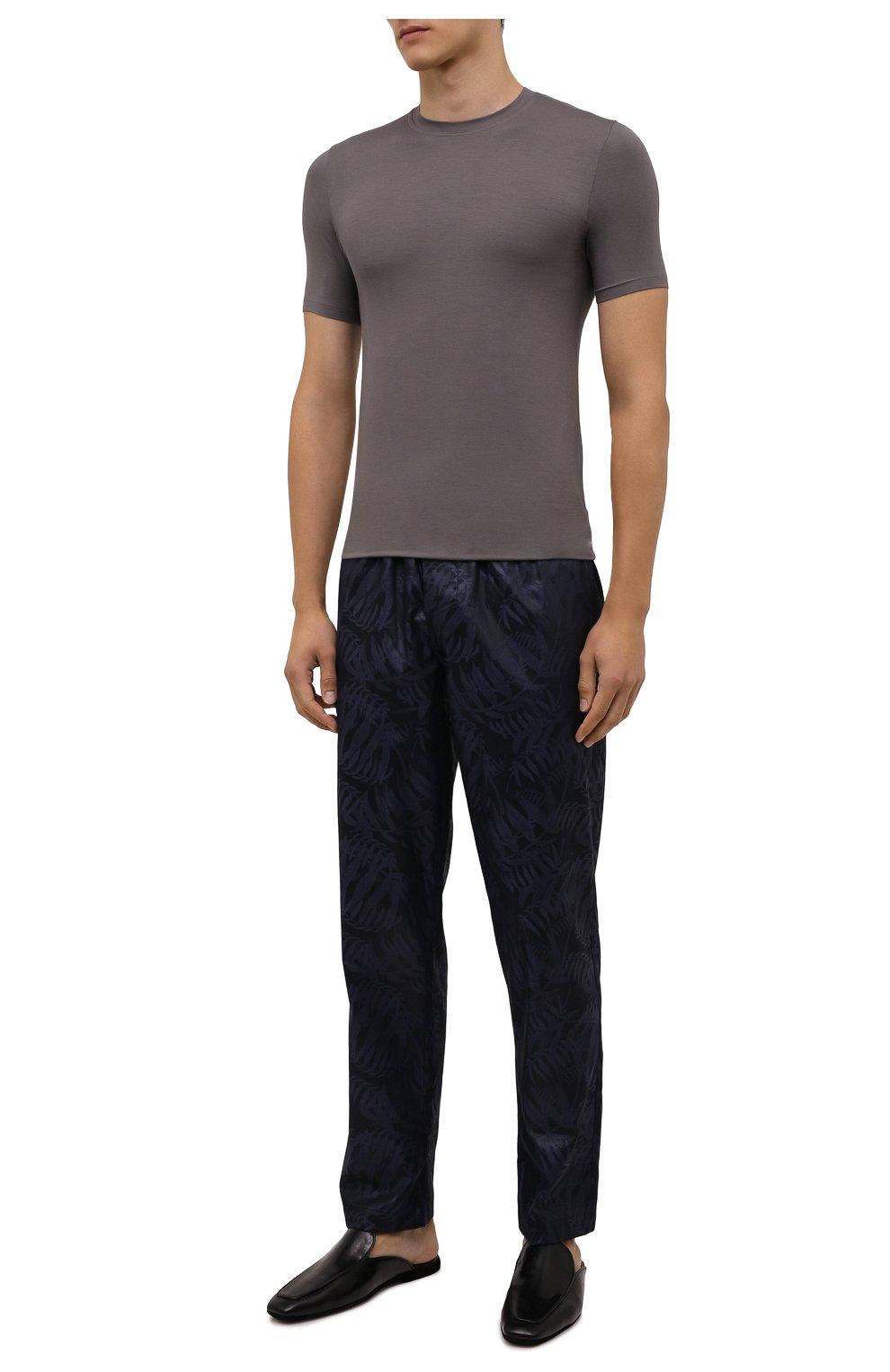 Мужская футболка ZIMMERLI светло-серого цвета, арт. 700-1341   Фото 2 (Кросс-КТ: домашняя одежда; Рукава: Короткие; Материал внешний: Синтетический материал; Длина (для топов): Стандартные)