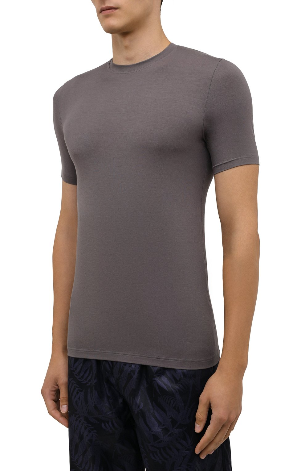 Мужская футболка ZIMMERLI светло-серого цвета, арт. 700-1341   Фото 3 (Кросс-КТ: домашняя одежда; Рукава: Короткие; Материал внешний: Синтетический материал; Длина (для топов): Стандартные)