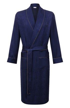 Мужской шелковый халат ZIMMERLI темно-синего цвета, арт. 6100-75144 | Фото 1 (Материал внешний: Шелк; Длина (верхняя одежда): Длинные; Рукава: Длинные; Кросс-КТ: домашняя одежда)