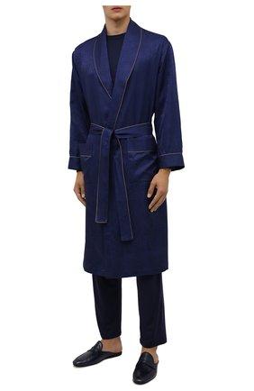 Мужской шелковый халат ZIMMERLI темно-синего цвета, арт. 6100-75144 | Фото 2 (Материал внешний: Шелк; Длина (верхняя одежда): Длинные; Рукава: Длинные; Кросс-КТ: домашняя одежда)