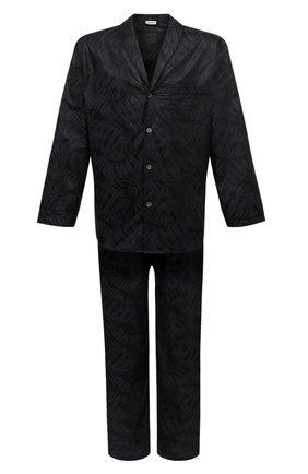 Мужская хлопковая пижама ZIMMERLI темно-синего цвета, арт. 4737-75016 | Фото 1 (Материал внешний: Хлопок; Кросс-КТ: домашняя одежда; Длина (для топов): Стандартные; Рукава: Длинные; Длина (брюки, джинсы): Укороченные)