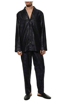 Мужская хлопковая пижама ZIMMERLI темно-синего цвета, арт. 4737-75016 | Фото 2 (Материал внешний: Хлопок; Кросс-КТ: домашняя одежда; Длина (для топов): Стандартные; Рукава: Длинные; Длина (брюки, джинсы): Укороченные)