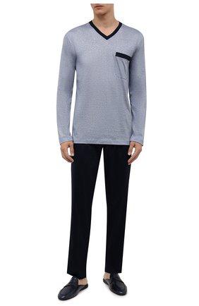 Мужская пижама из хлопка и шелка ZIMMERLI темно-синего цвета, арт. 3417-95402 | Фото 1 (Рукава: Длинные; Материал внешний: Хлопок; Длина (для топов): Стандартные; Длина (брюки, джинсы): Стандартные; Кросс-КТ: домашняя одежда)