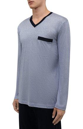 Мужская пижама из хлопка и шелка ZIMMERLI темно-синего цвета, арт. 3417-95402 | Фото 2 (Рукава: Длинные; Материал внешний: Хлопок; Длина (для топов): Стандартные; Длина (брюки, джинсы): Стандартные; Кросс-КТ: домашняя одежда)