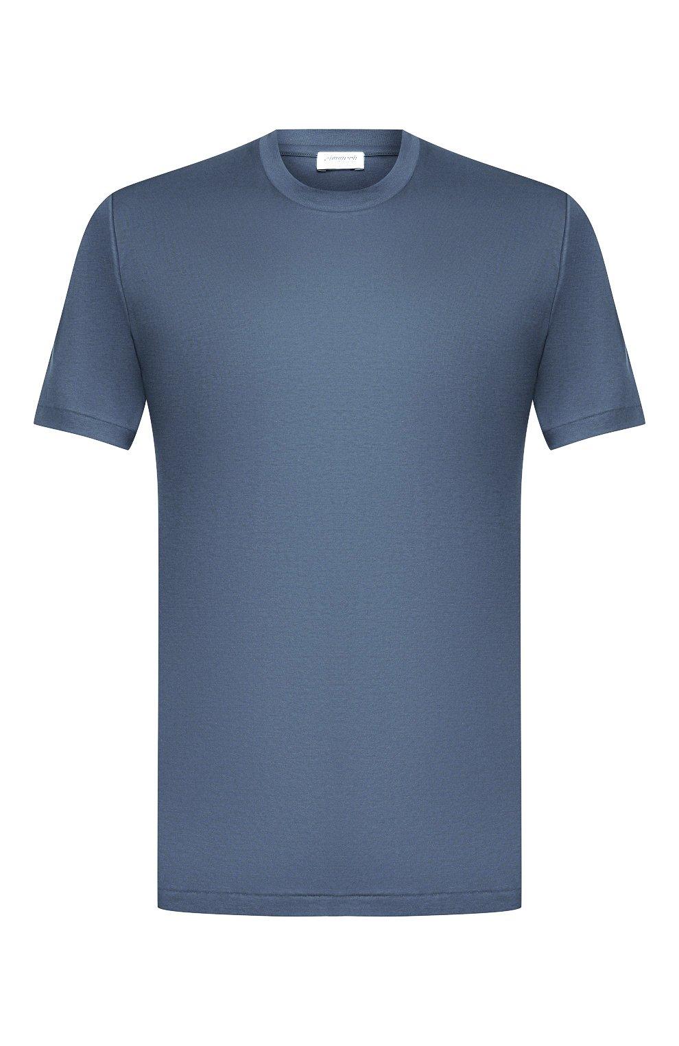 Мужская хлопковая футболка ZIMMERLI синего цвета, арт. 286-1447   Фото 1 (Кросс-КТ: домашняя одежда; Рукава: Короткие; Длина (для топов): Стандартные; Материал внешний: Хлопок)