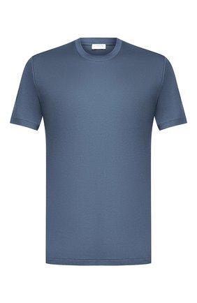 Мужская хлопковая футболка ZIMMERLI синего цвета, арт. 286-1447 | Фото 1 (Материал внешний: Хлопок; Кросс-КТ: домашняя одежда; Длина (для топов): Стандартные; Рукава: Короткие)