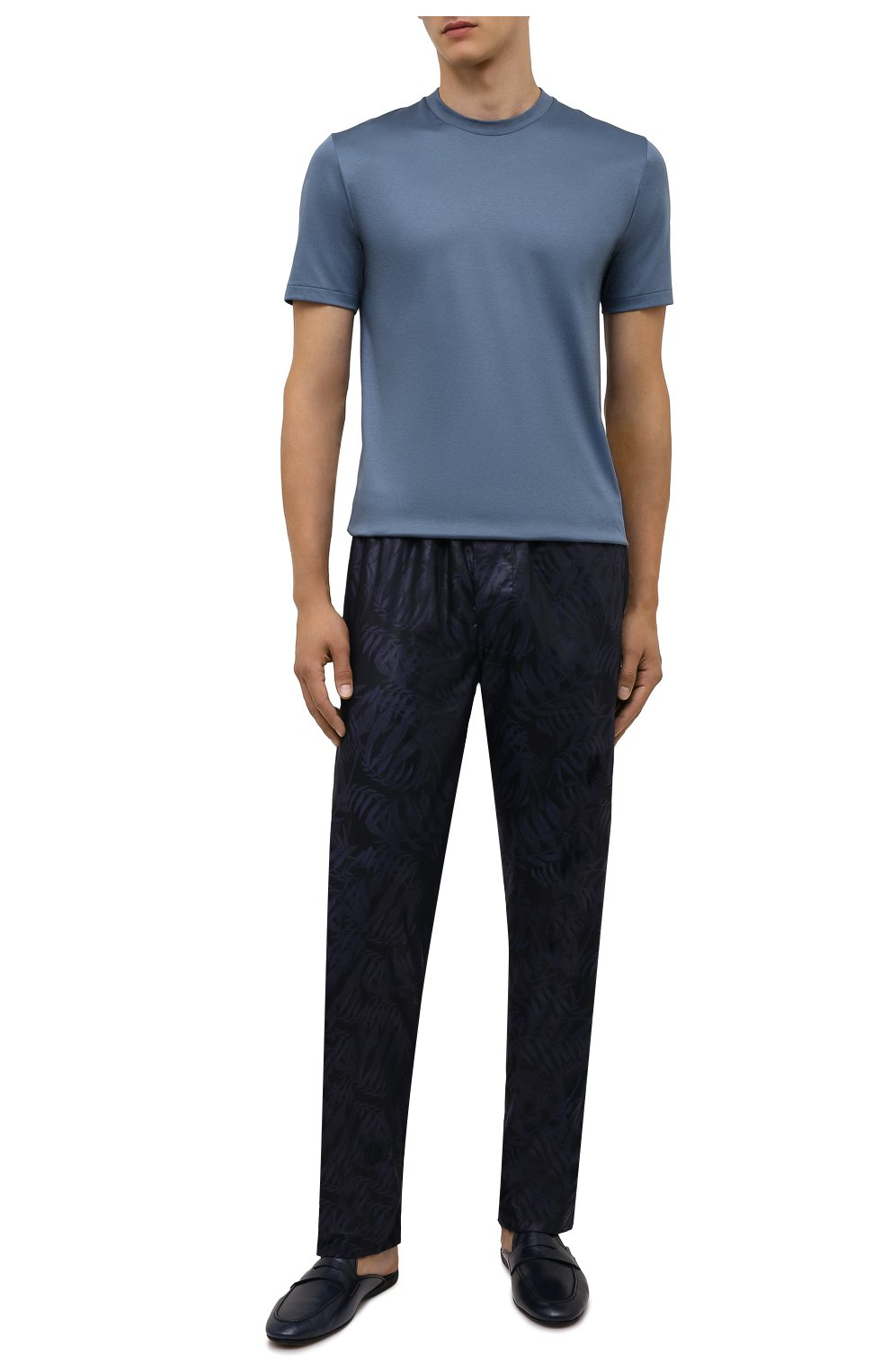 Мужская хлопковая футболка ZIMMERLI синего цвета, арт. 286-1447   Фото 2 (Кросс-КТ: домашняя одежда; Рукава: Короткие; Длина (для топов): Стандартные; Материал внешний: Хлопок)