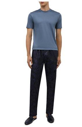 Мужская хлопковая футболка ZIMMERLI синего цвета, арт. 286-1447 | Фото 2 (Материал внешний: Хлопок; Кросс-КТ: домашняя одежда; Длина (для топов): Стандартные; Рукава: Короткие)