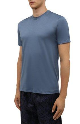 Мужская хлопковая футболка ZIMMERLI синего цвета, арт. 286-1447   Фото 3 (Кросс-КТ: домашняя одежда; Рукава: Короткие; Длина (для топов): Стандартные; Материал внешний: Хлопок)