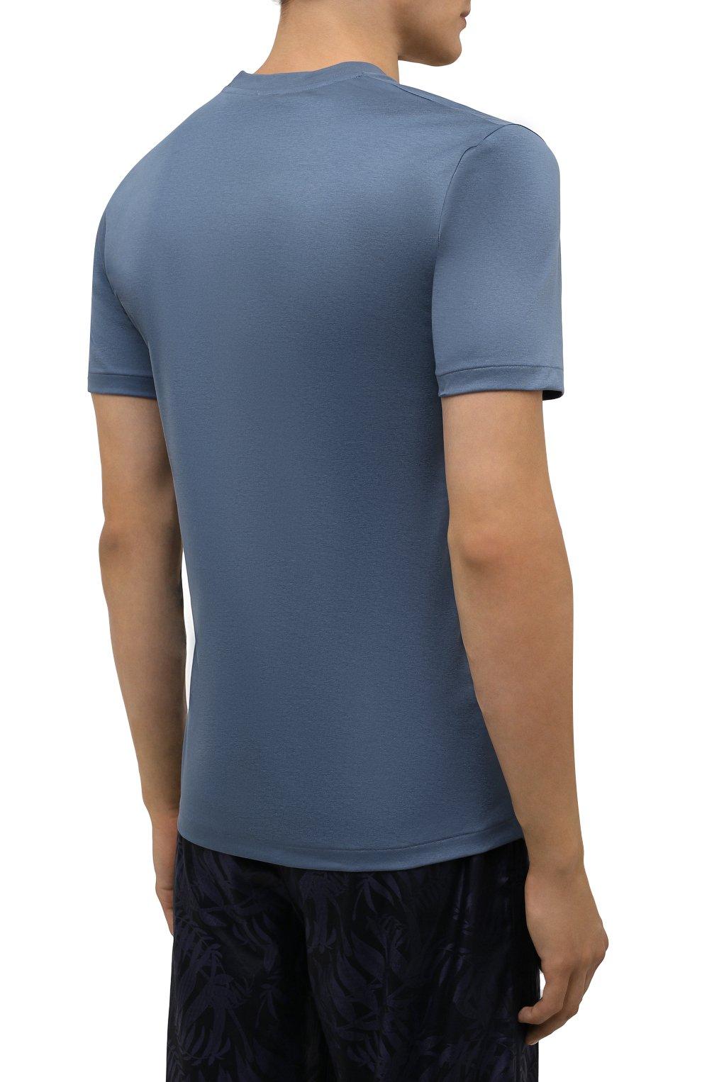 Мужская хлопковая футболка ZIMMERLI синего цвета, арт. 286-1447   Фото 4 (Кросс-КТ: домашняя одежда; Рукава: Короткие; Длина (для топов): Стандартные; Материал внешний: Хлопок)