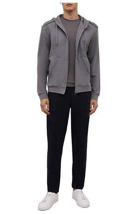 Мужской толстовка ZIMMERLI серого цвета, арт. 1343-21902 | Фото 2 (Рукава: Длинные; Материал внешний: Синтетический материал; Длина (для топов): Стандартные; Кросс-КТ: домашняя одежда)