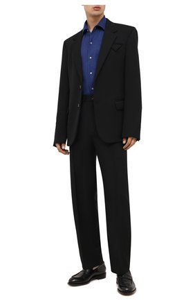 Мужская рубашка из кашемира и шелка LORO PIANA темно-синего цвета, арт. FAL3209 | Фото 2 (Материал внешний: Шерсть, Шелк, Кашемир; Рукава: Длинные; Длина (для топов): Стандартные; Случай: Повседневный; Принт: Однотонные; Воротник: Акула; Манжеты: На пуговицах)