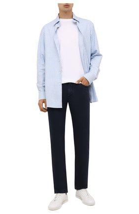 Мужские джинсы LORO PIANA темно-синего цвета, арт. FAG4511 | Фото 2 (Материал подклада: Хлопок; Материал внешний: Хлопок; Кросс-КТ: Деним; Силуэт М (брюки): Прямые; Стили: Кэжуэл; Длина (брюки, джинсы): Стандартные)