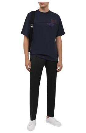 Мужская хлопковая футболка KENZO темно-синего цвета, арт. FB65TS0904SB   Фото 2 (Рукава: Короткие; Длина (для топов): Стандартные; Материал внешний: Хлопок; Принт: С принтом; Стили: Кэжуэл)