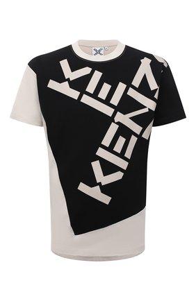 Мужская хлопковая футболка kenzo sport KENZO кремвого цвета, арт. FB65TS0314SK   Фото 1 (Длина (для топов): Стандартные; Материал внешний: Хлопок; Рукава: Короткие; Принт: С принтом; Стили: Спорт-шик)