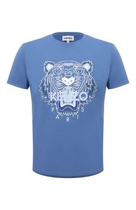 Мужская хлопковая футболка KENZO голубого цвета, арт. FB65TS0204YA | Фото 1 (Материал внешний: Хлопок; Принт: С принтом; Длина (для топов): Стандартные; Рукава: Короткие; Стили: Кэжуэл)