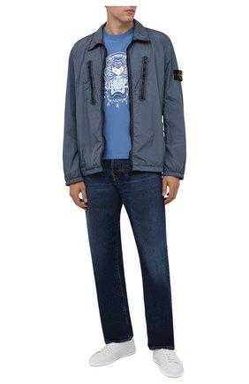 Мужская хлопковая футболка KENZO голубого цвета, арт. FB65TS0204YA   Фото 2 (Материал внешний: Хлопок; Принт: С принтом; Длина (для топов): Стандартные; Рукава: Короткие; Стили: Кэжуэл)