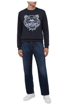 Мужской хлопковый свитшот KENZO темно-синего цвета, арт. FB65SW1244XF | Фото 2 (Рукава: Длинные; Длина (для топов): Стандартные; Принт: С принтом; Мужское Кросс-КТ: свитшот-одежда; Материал внешний: Хлопок; Стили: Спорт-шик)