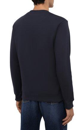 Мужской хлопковый свитшот KENZO темно-синего цвета, арт. FB65SW1244XF | Фото 4 (Рукава: Длинные; Длина (для топов): Стандартные; Принт: С принтом; Мужское Кросс-КТ: свитшот-одежда; Материал внешний: Хлопок; Стили: Спорт-шик)
