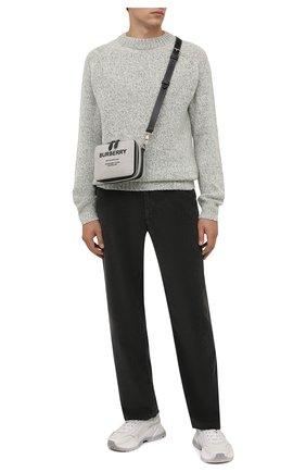 Мужской свитер из шерсти и кашемира KENZO светло-серого цвета, арт. FB65PU6023AA | Фото 2 (Длина (для топов): Стандартные; Рукава: Длинные; Материал внешний: Шерсть; Мужское Кросс-КТ: Свитер-одежда; Принт: Без принта; Стили: Кэжуэл)