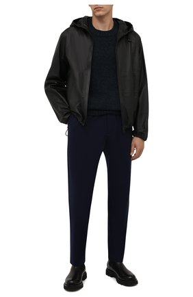 Мужские шерстяные брюки KENZO темно-синего цвета, арт. FB65PA5001RB   Фото 2 (Длина (брюки, джинсы): Стандартные; Материал внешний: Шерсть; Материал подклада: Синтетический материал; Случай: Повседневный; Стили: Кэжуэл)