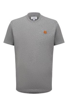 Мужская хлопковая футболка KENZO серого цвета, арт. FB55TS0034SA | Фото 1 (Материал внешний: Хлопок; Принт: Без принта; Рукава: Короткие; Длина (для топов): Стандартные; Стили: Кэжуэл)