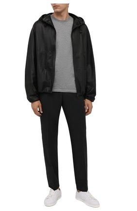 Мужская хлопковая футболка KENZO серого цвета, арт. FB55TS0034SA | Фото 2 (Материал внешний: Хлопок; Принт: Без принта; Рукава: Короткие; Длина (для топов): Стандартные; Стили: Кэжуэл)