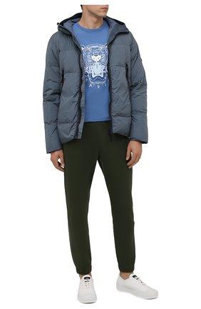 Мужские хлопковые джоггеры KENZO хаки цвета, арт. FB55PA7114ML | Фото 2 (Мужское Кросс-КТ: Брюки-трикотаж; Длина (брюки, джинсы): Стандартные; Материал внешний: Хлопок; Стили: Спорт-шик; Силуэт М (брюки): Джоггеры)