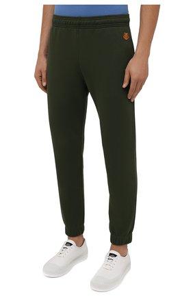 Мужские хлопковые джоггеры KENZO хаки цвета, арт. FB55PA7114ML | Фото 3 (Мужское Кросс-КТ: Брюки-трикотаж; Длина (брюки, джинсы): Стандартные; Материал внешний: Хлопок; Стили: Спорт-шик; Силуэт М (брюки): Джоггеры)