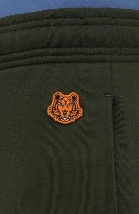 Мужские хлопковые джоггеры KENZO хаки цвета, арт. FB55PA7114ML | Фото 5 (Мужское Кросс-КТ: Брюки-трикотаж; Длина (брюки, джинсы): Стандартные; Материал внешний: Хлопок; Стили: Спорт-шик; Силуэт М (брюки): Джоггеры)