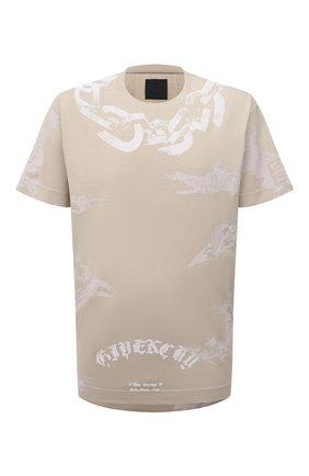 Мужская хлопковая футболка GIVENCHY светло-бежевого цвета, арт. BM715A3Y6B | Фото 1 (Материал внешний: Хлопок; Длина (для топов): Стандартные; Рукава: Короткие; Принт: С принтом; Стили: Кэжуэл)