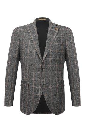 Мужской шерстяной пиджак SARTORIA LATORRE серого цвета, арт. G0I7EF QA0816 | Фото 1 (Материал внешний: Шерсть; Длина (для топов): Стандартные; Материал подклада: Купро; Рукава: Длинные; Случай: Коктейльный; 1-2-бортные: Однобортные; Пиджаки М: Прямой; Стили: Классический)