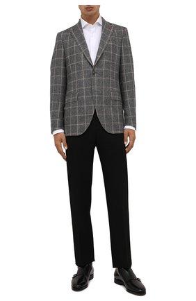 Мужской шерстяной пиджак SARTORIA LATORRE серого цвета, арт. G0I7EF QA0816 | Фото 2 (Материал внешний: Шерсть; Длина (для топов): Стандартные; Материал подклада: Купро; Рукава: Длинные; Случай: Коктейльный; 1-2-бортные: Однобортные; Пиджаки М: Прямой; Стили: Классический)