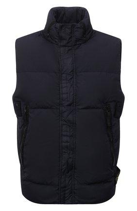 Мужской пуховый жилет STONE ISLAND темно-синего цвета, арт. 7515G0123 | Фото 1 (Материал подклада: Синтетический материал; Материал внешний: Синтетический материал; Материал утеплителя: Пух и перо; Кросс-КТ: Куртка, Пуховик; Стили: Кэжуэл; Длина (верхняя одежда): Короткие)