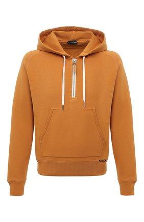 Мужской хлопковое худи TOM FORD оранжевого цвета, арт. BY265/TFJ240 | Фото 1 (Рукава: Длинные; Материал внешний: Хлопок; Длина (для топов): Стандартные; Мужское Кросс-КТ: Худи-одежда; Принт: Без принта; Стили: Спорт-шик)