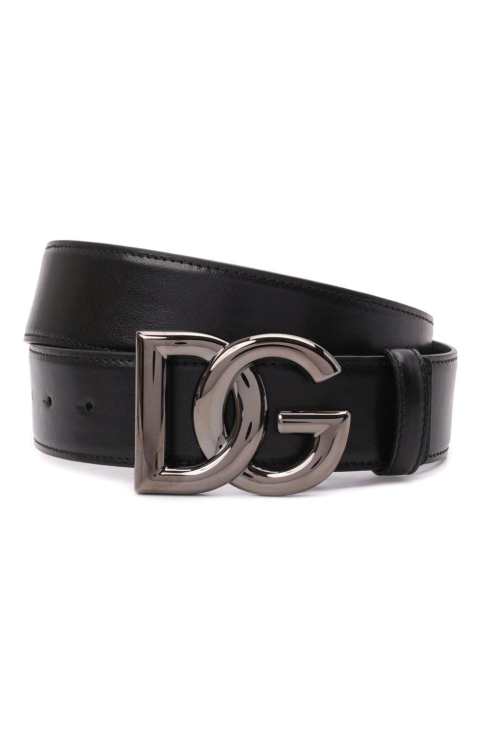 Мужской кожаный ремень DOLCE & GABBANA черного цвета, арт. BC4630/A0776   Фото 1 (Случай: Повседневный)