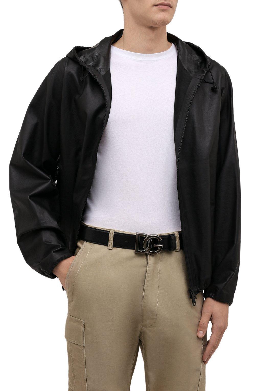 Мужской кожаный ремень DOLCE & GABBANA черного цвета, арт. BC4630/A0776   Фото 2 (Случай: Повседневный)
